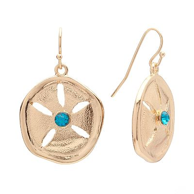 Croft and Barrow Gold Tone Simulated Crystal Sand Dollar Drop Earrings