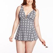 A Shore Fit Thigh Solutions Floral Swimdress - Women's Plus