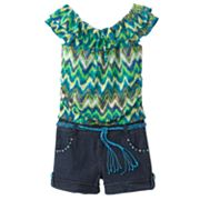 My Michelle Belted Denim Romper - Girls 7-16