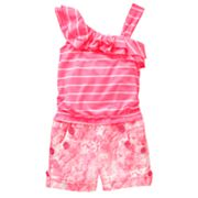 My Michelle Asymmetrical Striped and Tie-Dye Romper - Girls 7-16