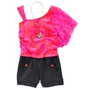 My Michelle Asymmetrical Lace Romper - Girls 7-16