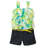 My Michelle Tie-Dye Belted Denim Romper - Girls 7-16