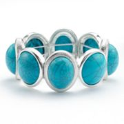Trifari Silver Tone Simulated Turquoise Stretch Bracelet
