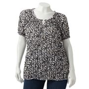 Croft and Barrow Printed Crinkled Top - Women's Plus