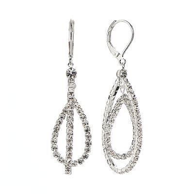 Franco Gia Silver Tone Simulated Crystal Double Teardrop Earrings