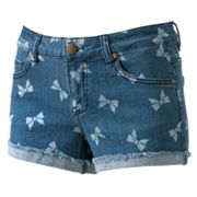 Tinseltown Bow Denim Shortie Shorts - Juniors
