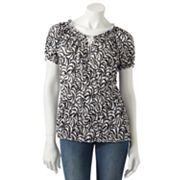 Croft and Barrow Printed Crinkled Top - Petite