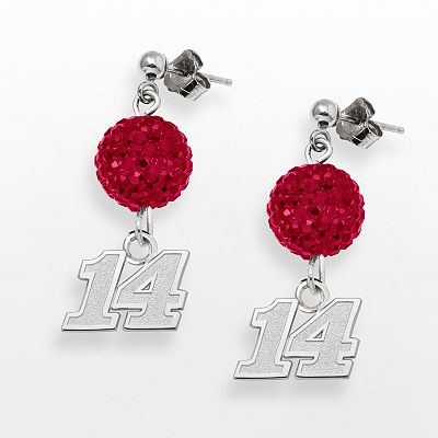 LogoArt NASCAR Tony Stewart Sterling Silver Crystal Ball Drop Earrings