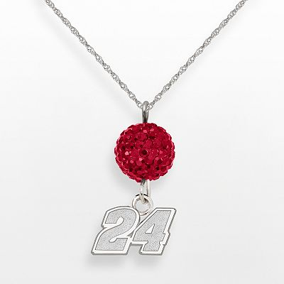 LogoArt NASCAR Jeff Gordon Sterling Silver Crystal Ball Pendant