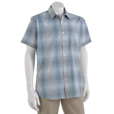 Van Heusen Studio Ombre-Grid Easy-Care Casual Button-Down Shirt