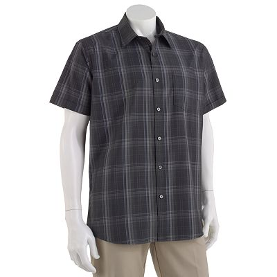 Van Heusen Studio Slim-Fit Ombre-Plaid Easy-Care Casual Button-Down Shirt