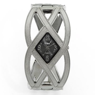 Vivani Gunmetal Crisscross Bangle Watch - Women