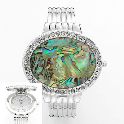 Vivani Silver Tone Mother-of-Pearl and Simulated Crystal Bangle Watch - Women