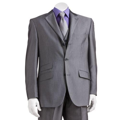 Steve Harvey Gray Striped Suit Jacket - Men