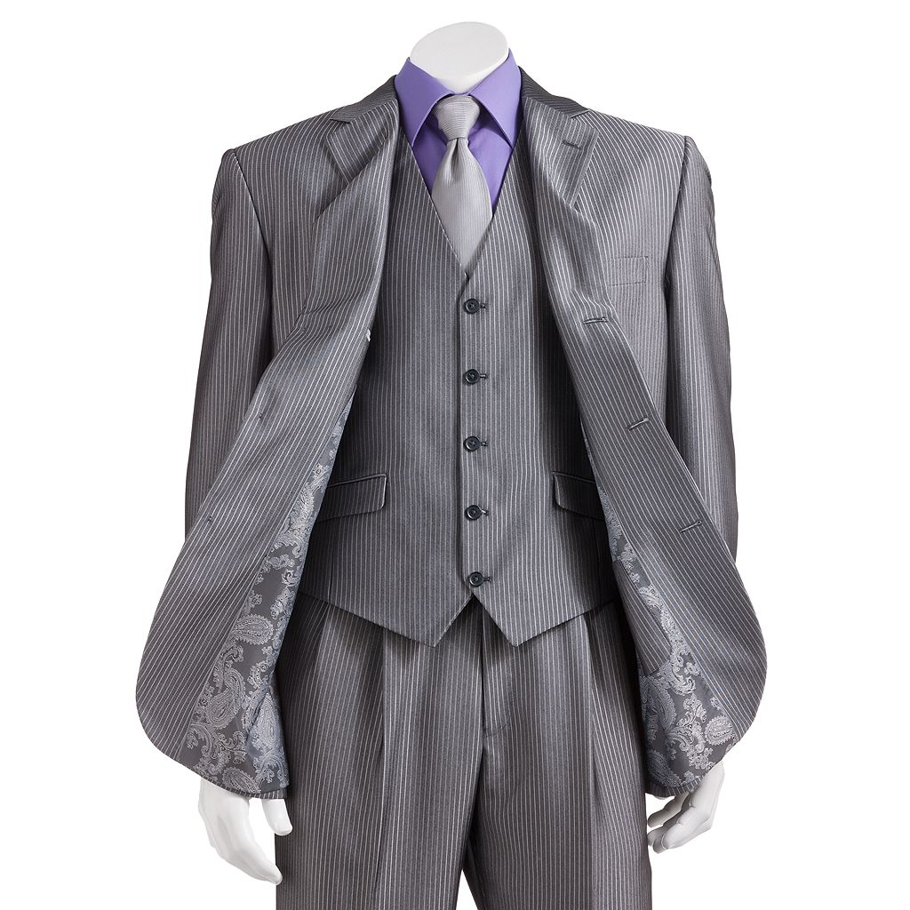 Men's Steve Harvey Gray Striped Suit Jacket