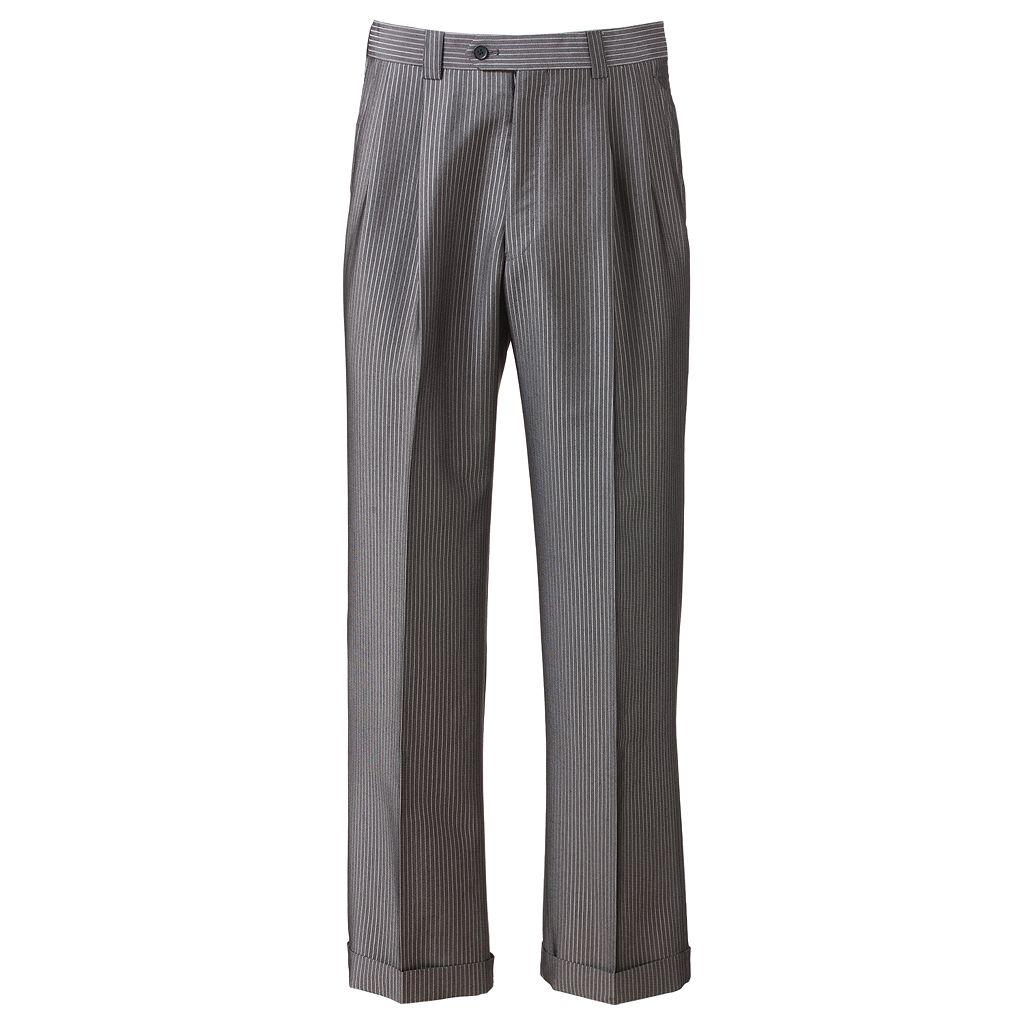 Men's Steve Harvey Striped Double-Pleated Gray Suit Pants