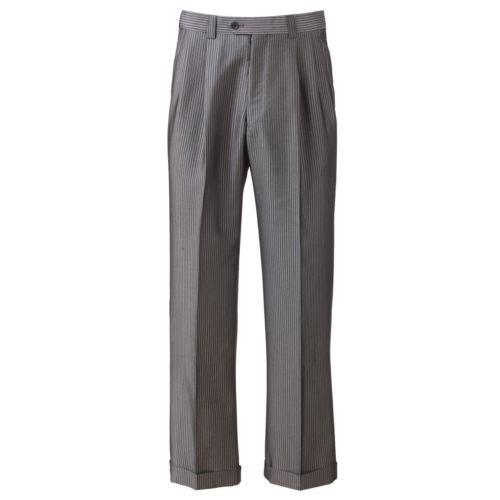 Steve Harvey Striped Double-Pleated Gray Suit Pants