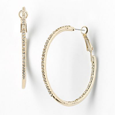Simply Vera Vera Wang Gold Tone Simulated Crystal Hoop Earrings