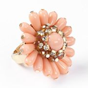 Simply Vera Vera Wang Gold Tone Simulated Crystal Bead Flower Stretch Ring