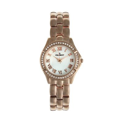 Peugeot Rose Gold Tone Mother-of-Pearl and Crystal Watch - Made with Swarovski Elements - 7037RG - Women