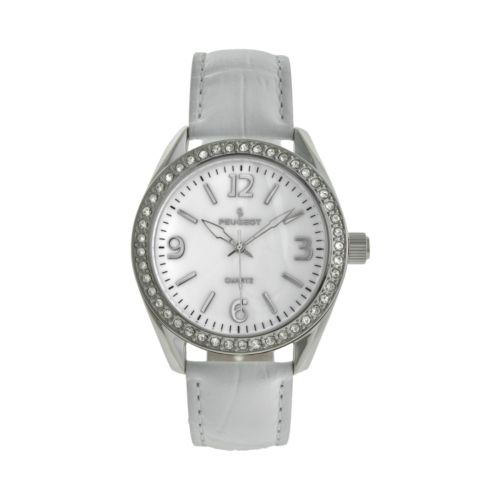 Peugeot Women's Crystal Leather Watch - 3006WT