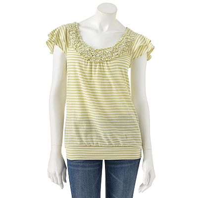 ELLE Striped Pucker Top