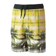 ZeroXposur Palm Tree Plaid Swim Trunks