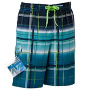 ZeroXposur Plaid Stretch Swim Trunks