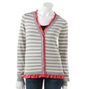 ELLE Striped Charmeuse Cardigan