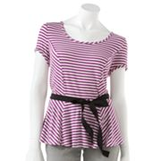 ELLE Striped Peplum Top
