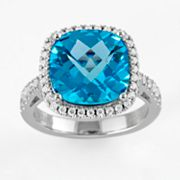 Sonora Collection Sterling Silver Blue Topaz and Cubic Zirconia Square Frame Ring