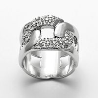 Silver Plated 1/4-ct. T.W. Diamond Open Link Ring