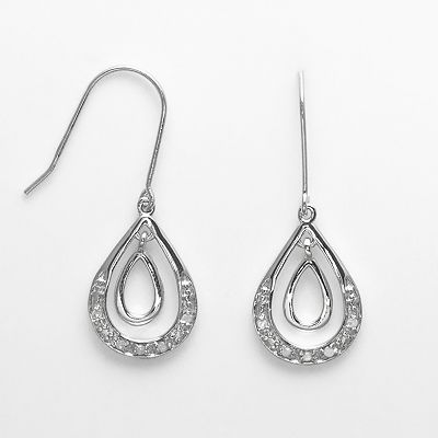 Sterling Silver 1/10-ct. T.W. Diamond Teardrop Earrings