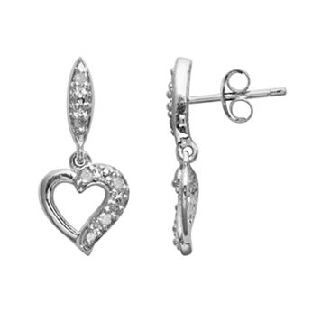 Sterling Silver 1/10-ct. T.W. Diamond Heart Drop Earrings