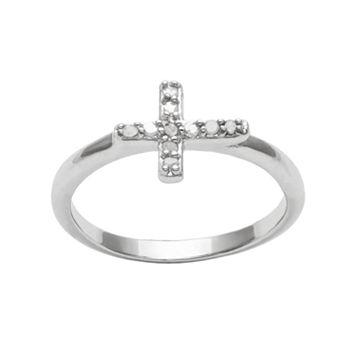 Sterling Silver 1/10-ct. T.W. Diamond Sideways Cross Ring
