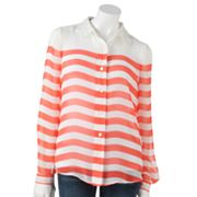 LC Lauren Conrad Striped Chiffon Blouse