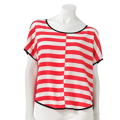 LC Lauren Conrad Striped Mixed-Media Top