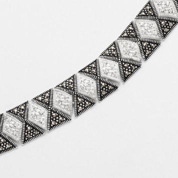 Le Vieux Crystal & Marcasite Silver-Plated Mosaic Bracelet - Made with Swarovski Marcasite
