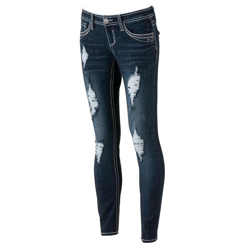 Hydraulic Distressed Skinny Jeans - Juniors (Blue)