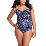 Trimshaper Splatter One-Piece Swimsuit - Women's Plus