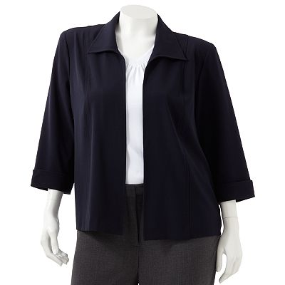 Sag Harbor Solid Cuffed Jacket - Women's Plus