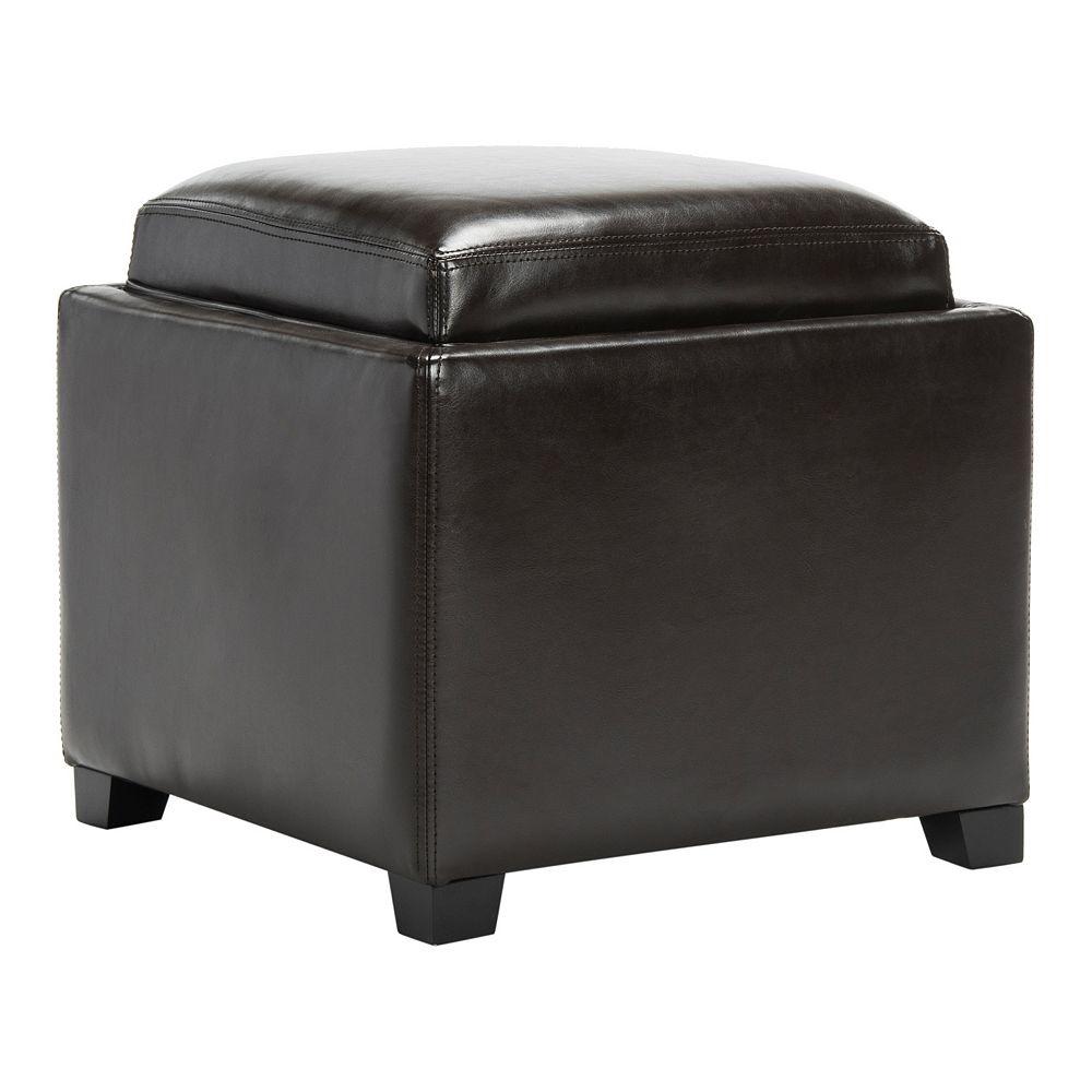 Safavieh Bobbi Leather Tray Storage Ottoman