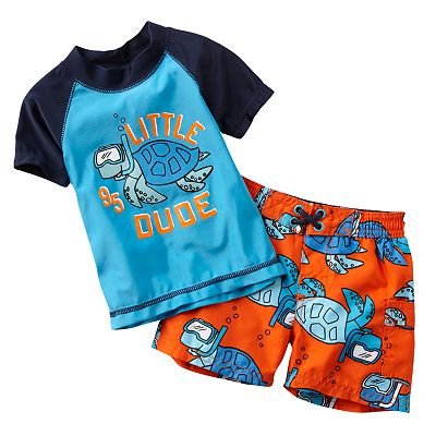 OshKosh B'gosh Little Dude Rash Guard and Swim Trunks Set - Baby