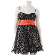 Speechless Zebra Glitter Bubble Dress - Juniors