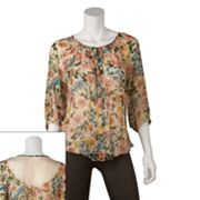 IZ Byer California Floral Lace Back Peasant Top - Juniors