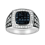 Sterling Silver 3/4-ct. T.W. Blue and White Diamond Ring - Men