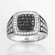 Sterling Silver 3/4-ct. T.W. Black and White Diamond Ring - Men