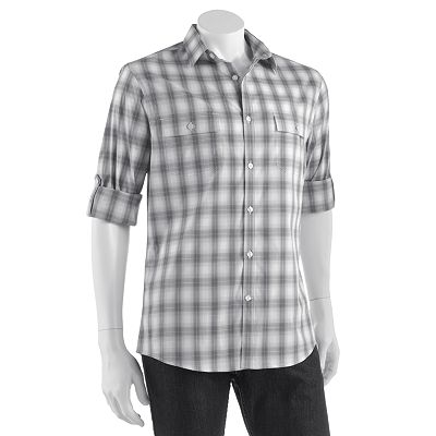 Axist Slim-Fit Plaid Easy-Care Stretch Roll-Tab Casual Button-Down Shirt