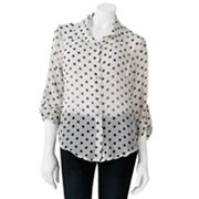 About A Girl Polka-Dot Sheer Top - Juniors