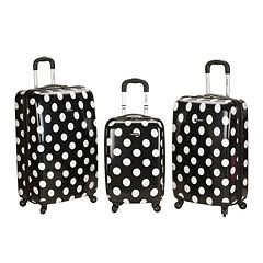 Rockland 3-Piece Hardside Spinner Polka Dot Luggage Set